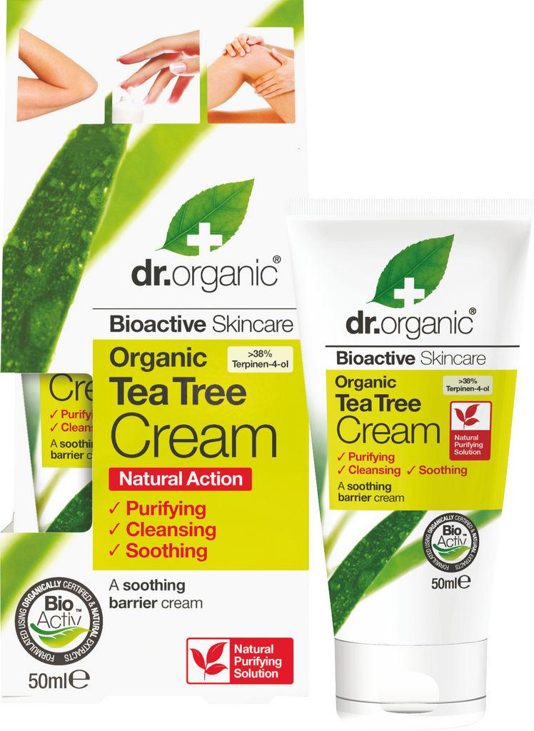Krema za iritirano kožo Dr. Organic, Tea Tree antiseptična, 50 ml