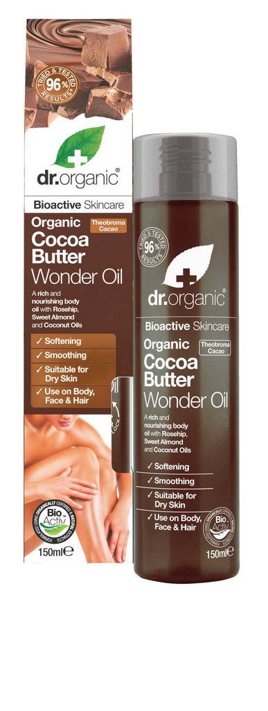 Olje za telo Dr. Organic, s kakavovim maslom, 150 ml