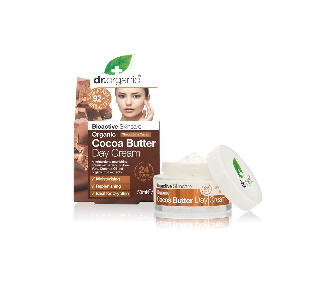 Krema za obraz Dr. Organic, dnevna s kakavovim maslom, 50 ml