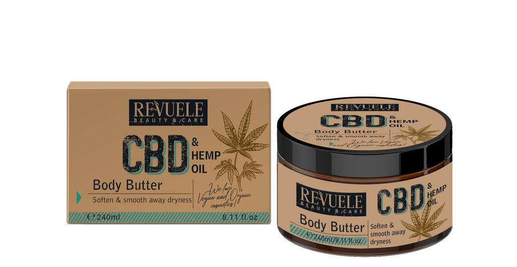 Maslo za telo Revuele, s CBD in oljem konopljinih semen, 240 ml