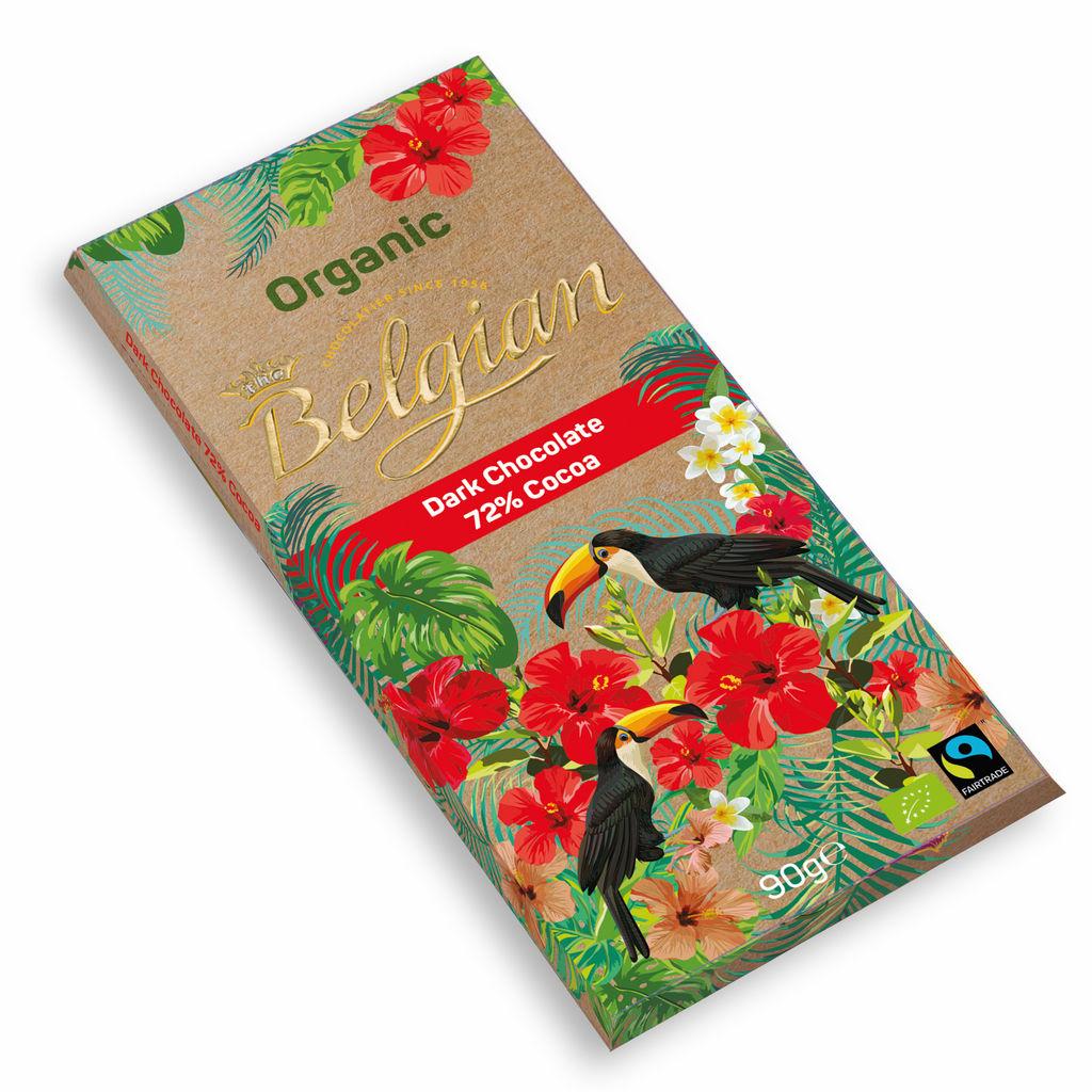 Čokolada Bio The Belgian, temna 72 %, 90 g