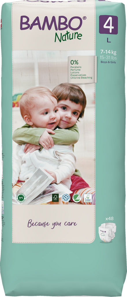 Plenice Bambo, Nature, maxi 4, 7-14kg, tall pack, 48/1
