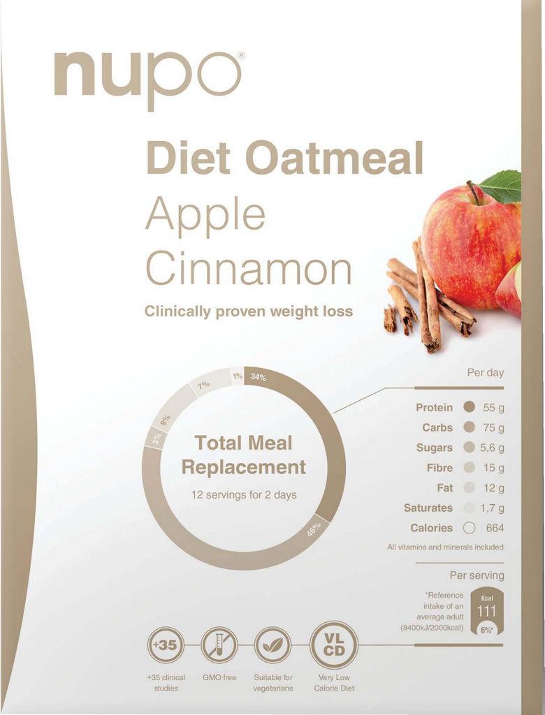 Ovsena kaša Nupo, dietna z okusom jabolko in cimet, 384g