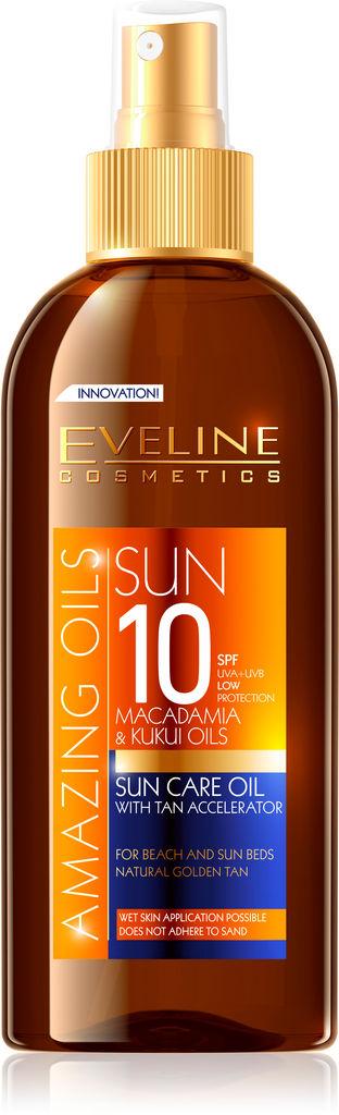 Olje za sončenje Evelin, SPF 10, s pospeševanjem porjavitve, 150ml