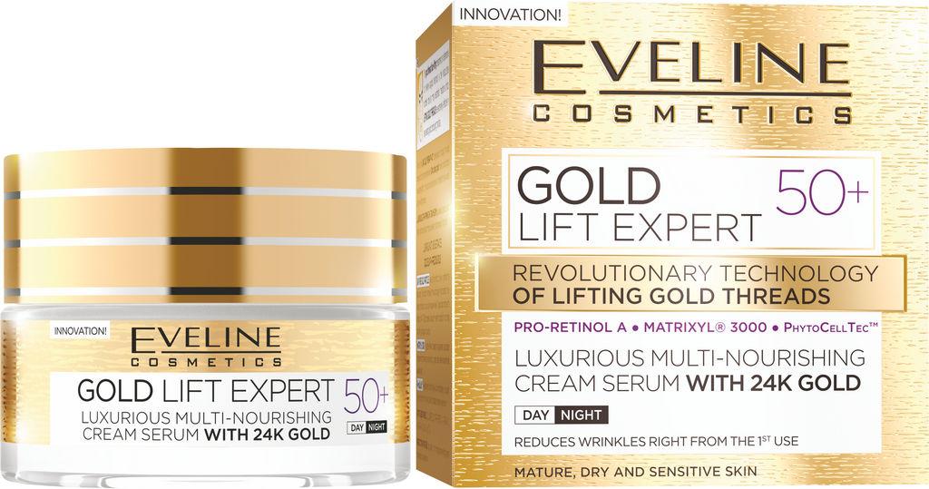 Krema za obraz Eveline, Lift Expert Gold 50+, 50 ml