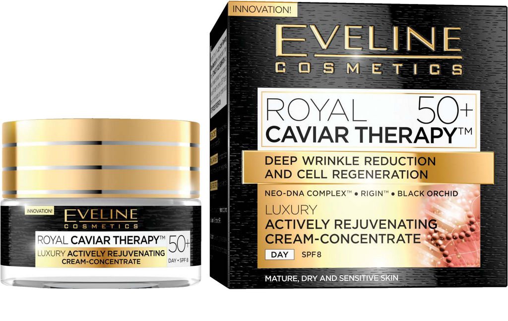 Krema za obraz Eveline Royal Caviar Therapy 50+ dnevna in nočna, 50ml