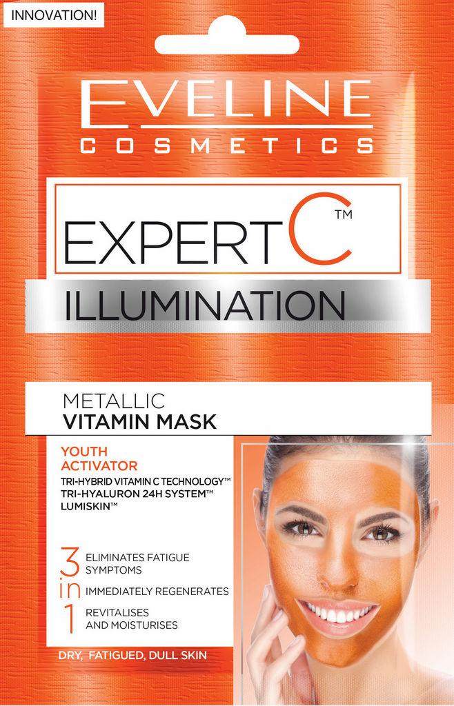 Maska Eveline, Expert C metallic vitamin mask 3 v 1, 2 x 5 ml