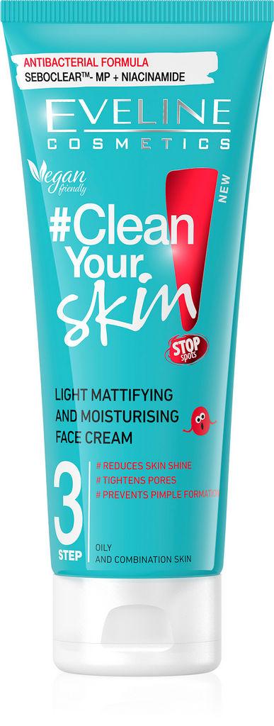 Krema za obraz Eveline, Clean your skin 3, vlažilna za problematično kožo, 75 ml