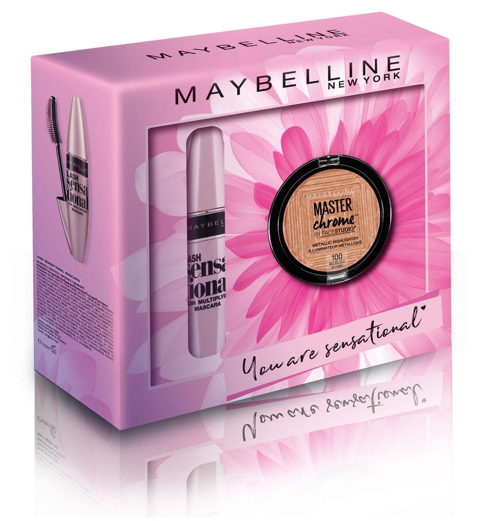 Darilni set Maybelline, Lash Sensational maskara + Chrome osvetljevalec