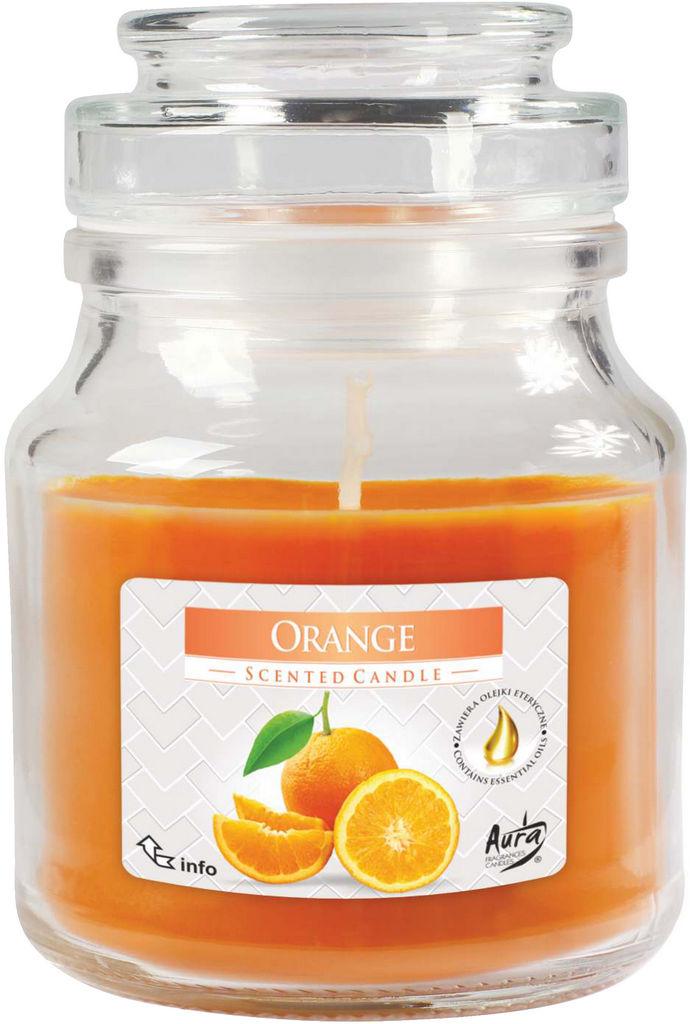 Sveča diš., pomaranča, v steklu s pokrov.