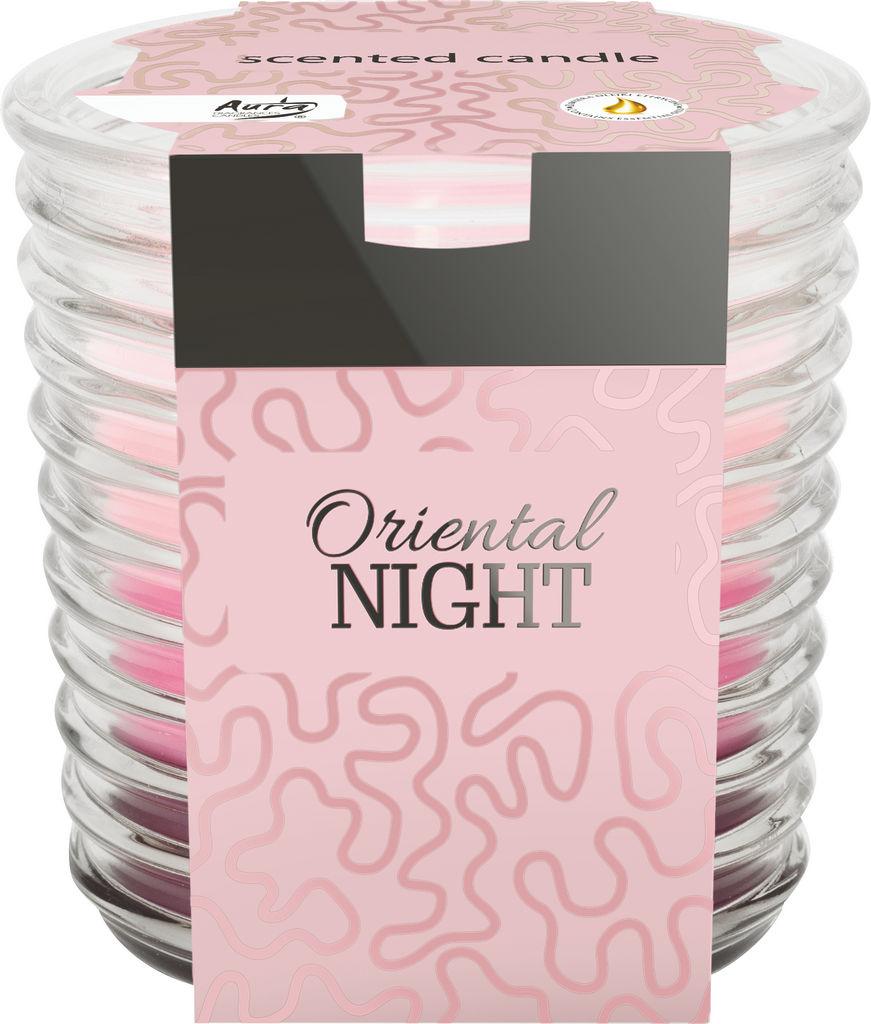Sveča dišeča v rebrastem steklu, oriental.noč