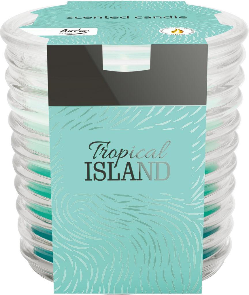 Sveča dišeča v rebrastem steklu, tropski otok