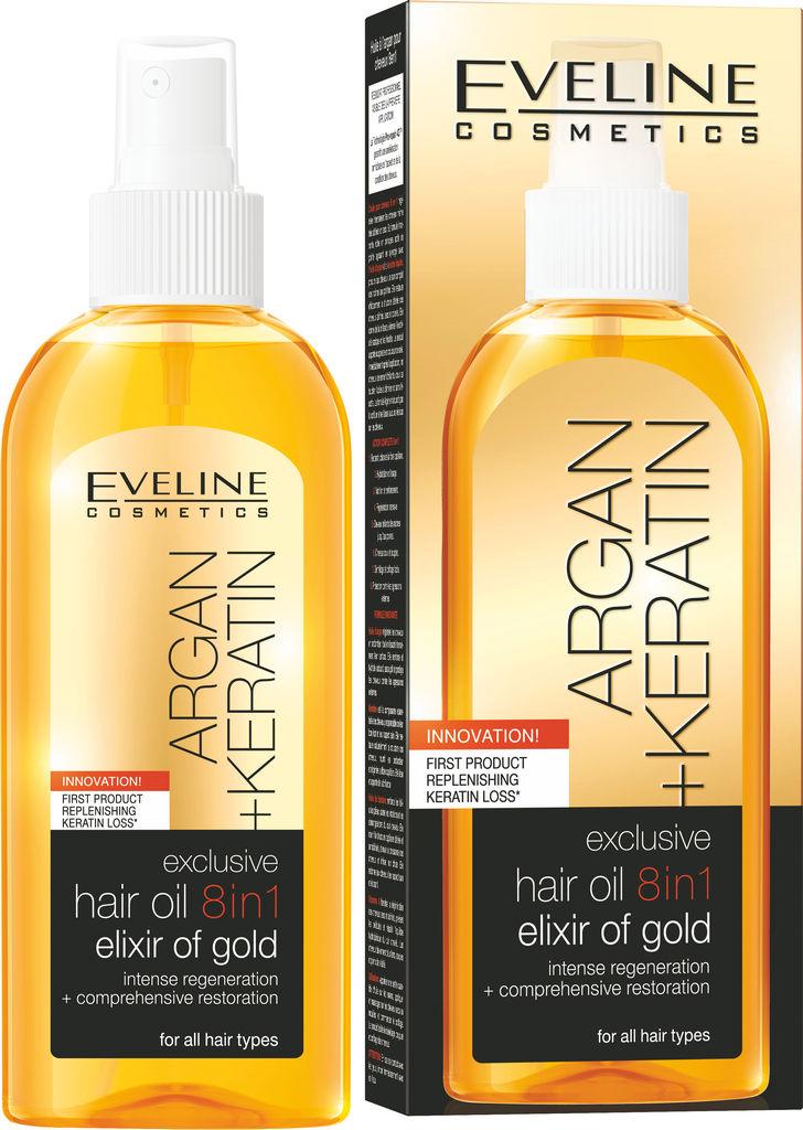 Oljni eliksir za lase Eveline, Argan + Keratin 8 v 1, 150 ml