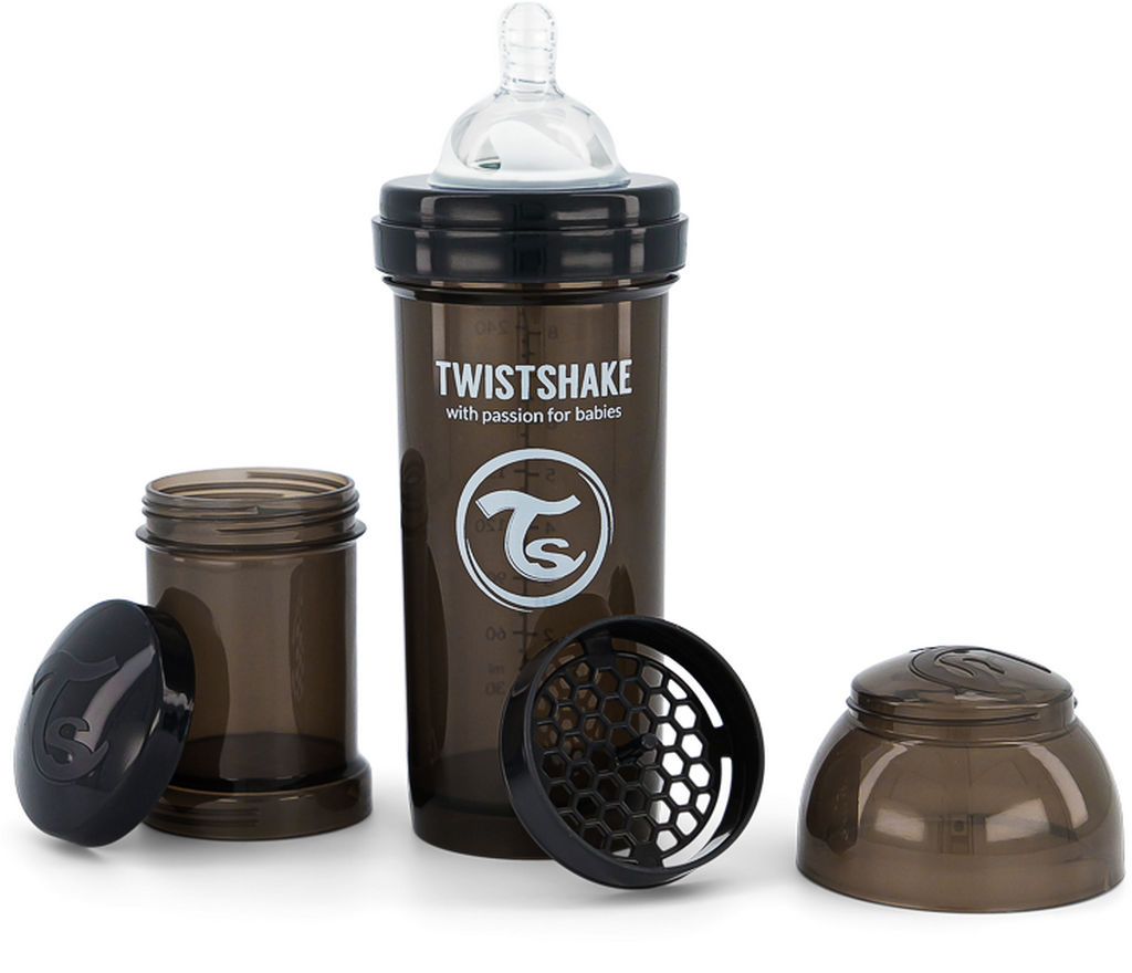 Steklenička Twistshake, Anti Colic, črna, 260 ml