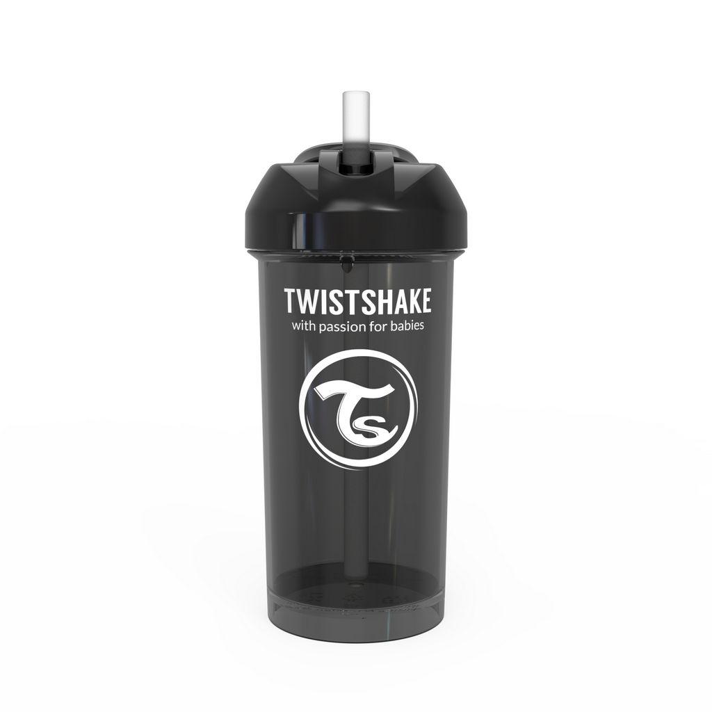 Lonček s slamico Twistshake črn, 360 ml