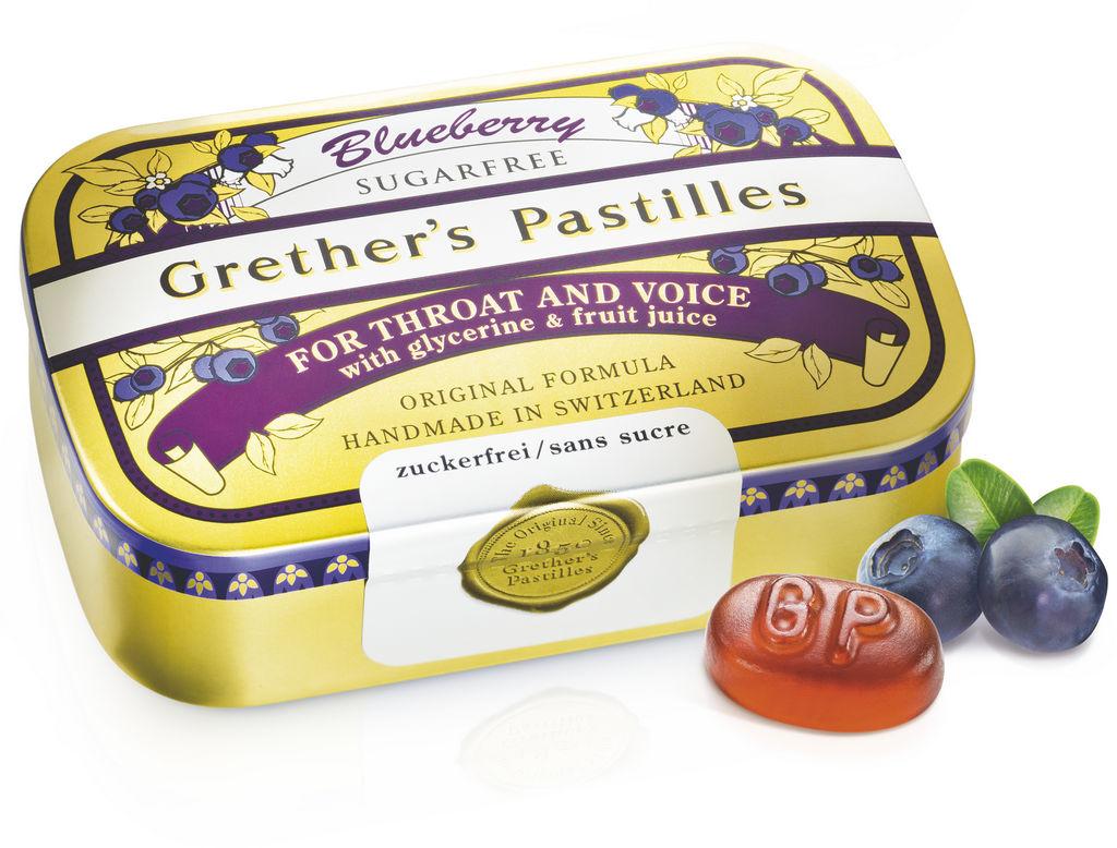 Pastile Grether's, borovnica, brez sladkorja, 110g