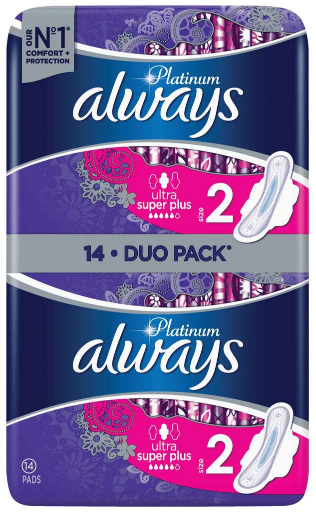 Higienski vložki Always ultra, Platinum, super+, 14/1