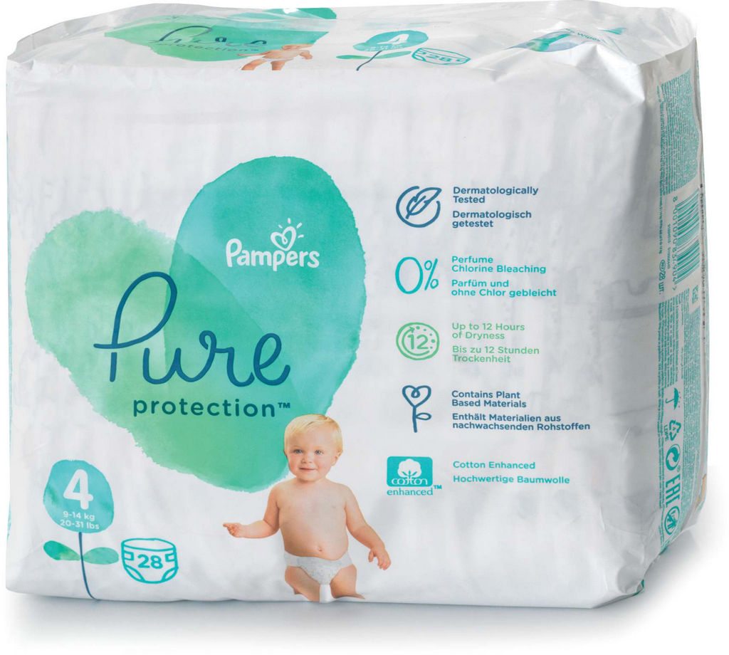Pampers Pure plenice, S4 VP, 9-14kg, 28/1