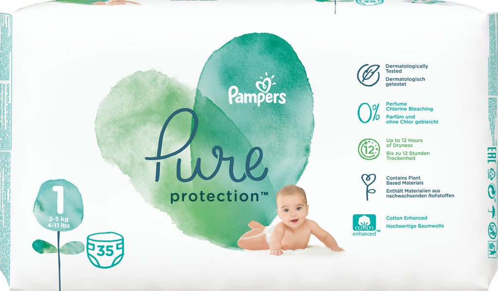 Pampers Pure plenice, S1 CP, 2-5kg, 35/1