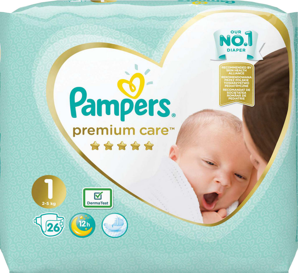 Pampers Premium, Newborn, S1 2-5kg, 26/1
