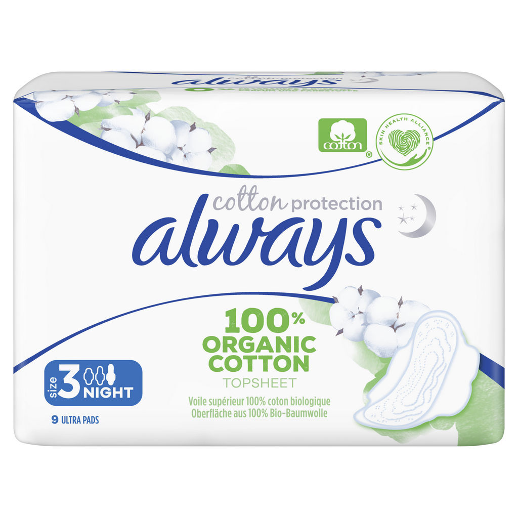 Always vložki, nočni, cotton protection, 9/1