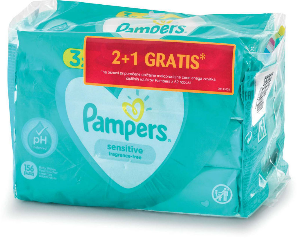 Robčki Pampers, Sensitive, 3×52