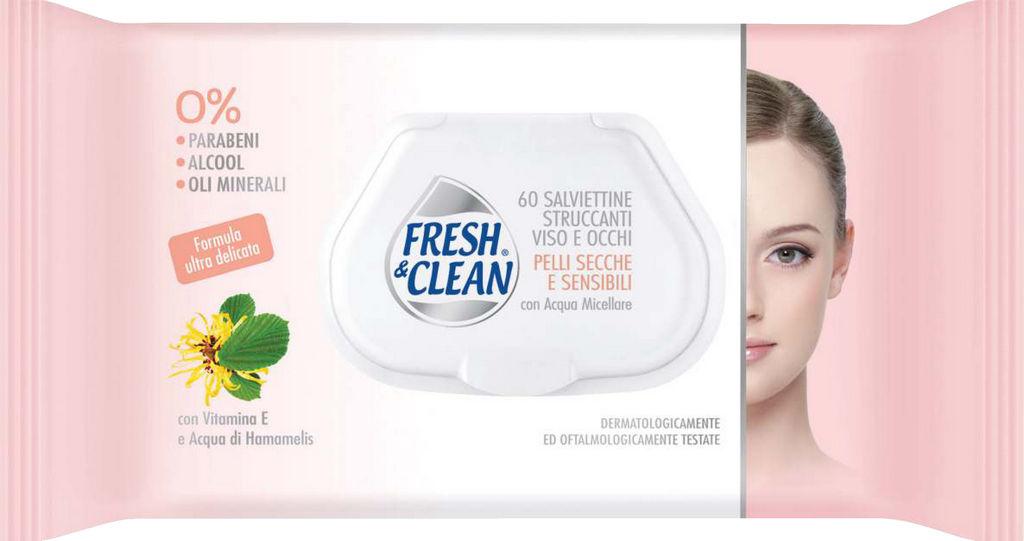 Robčki Fresh & Clean, za odstranjevanje ličil, Sensitive, 60/1
