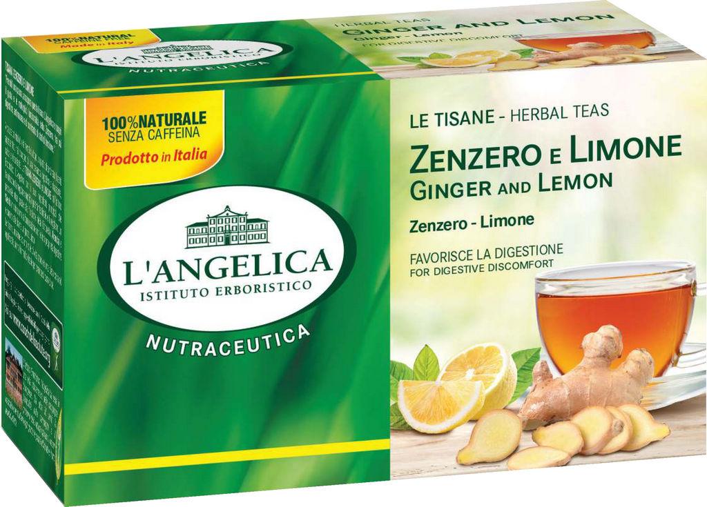 Čaj L'Angelica, zeliščni, ingver&limona, 20g