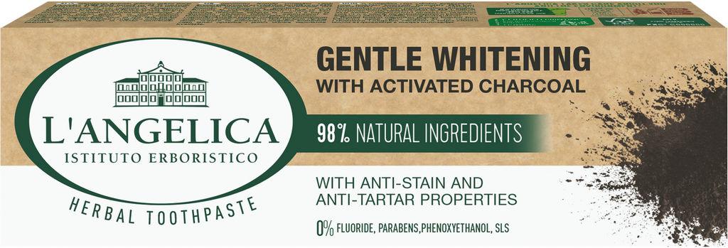 Zobna pasta L'Angelica, naravna belina zob, oglje, 75 ml