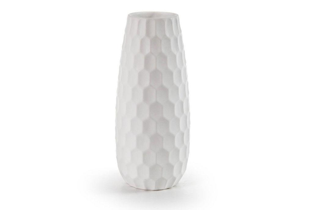 Vaza Cre, keramična, bela, 26 cm