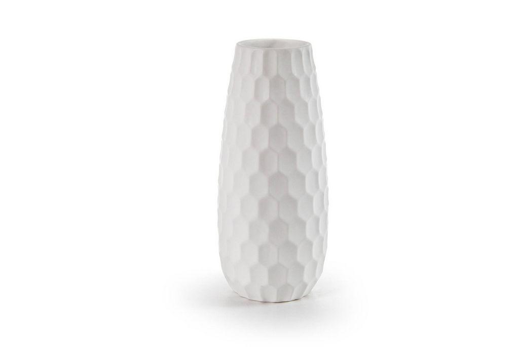 Vaza Cre, keramična, bela, 18 cm