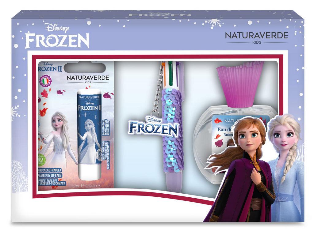 Darilni set Naturaverde, Frozen, otroški, toal. voda +  balzam za ust. + pisalo