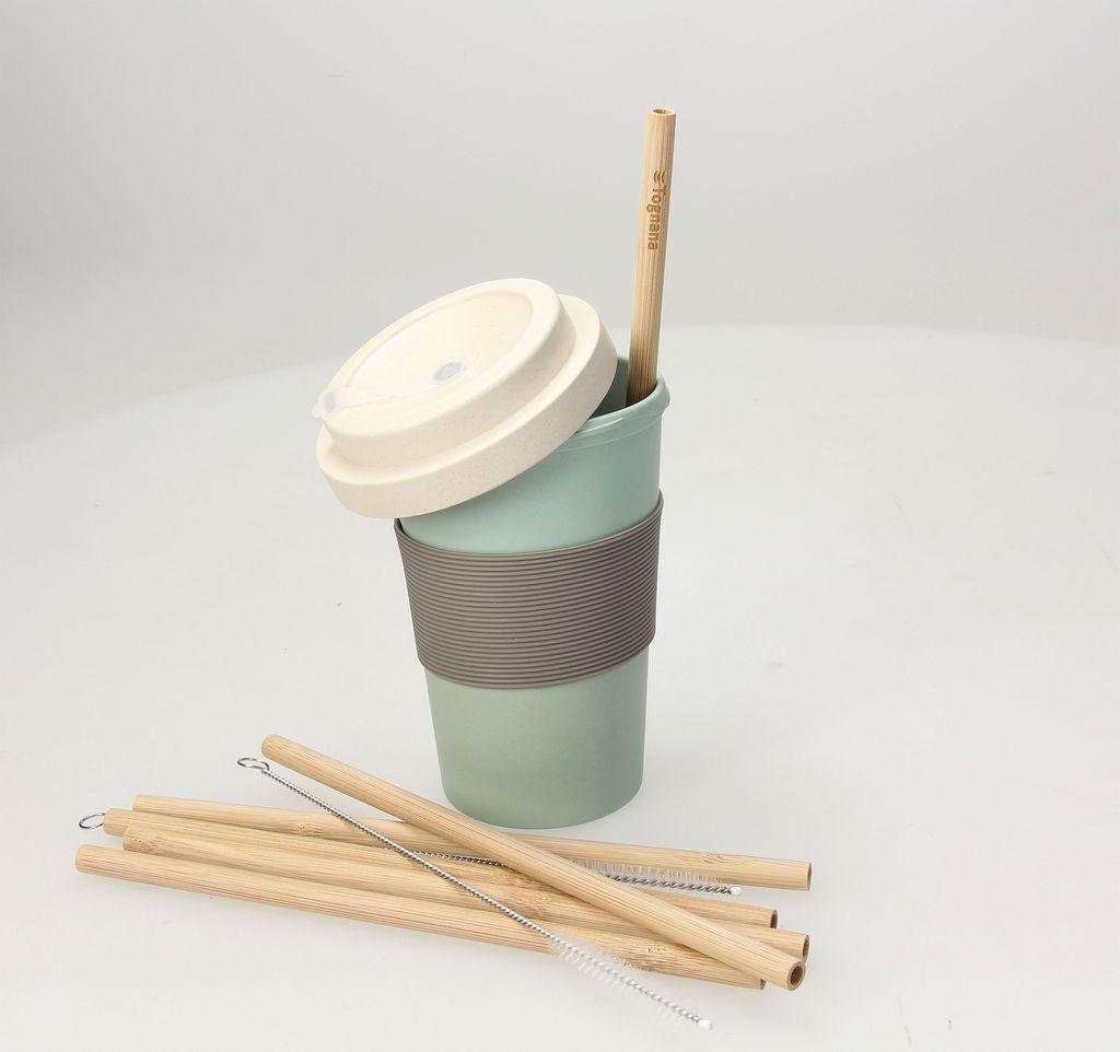 Lonček Bamboo, silikonski pokrov, pastelno zelen, 380ml