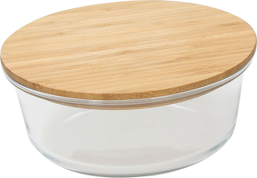 Posodica steklena z lesenim pokrovom, okrogla, 15cm