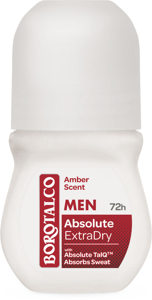 Dezodorant Borotalco roll-on man, absulute extra dry amber, 50 ml