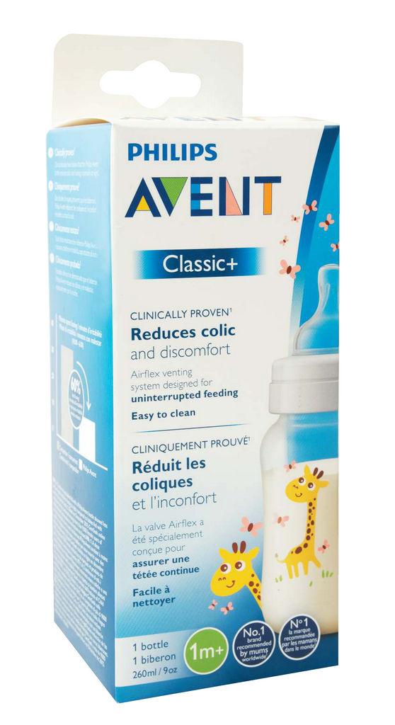 Steklenička Avent classic+žirafa, 260ml
