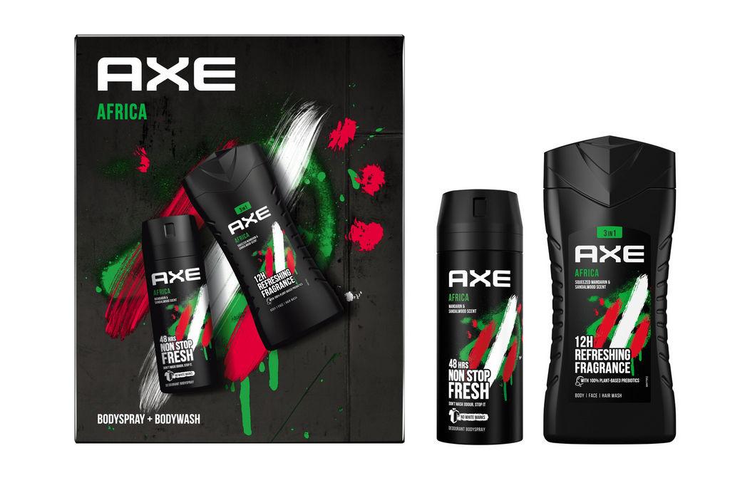 Darilni set Axe, Eco1 Africa, deo spray 150 ml + gel za prhanje 250 ml
