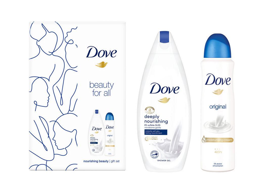 Darilni set Dove, FW Eco2 Deeply Nourishing, Deo Spray, Gel za prhanje