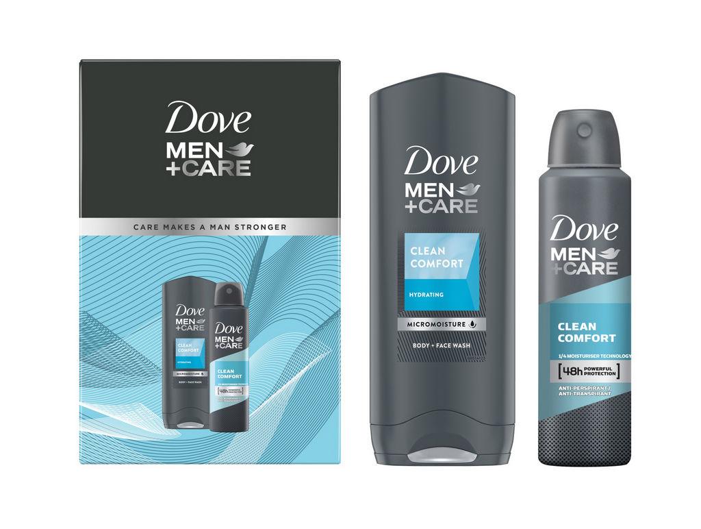 Darilni set Dove Men, FM Eco1 Clean Comfort, Deo Spray, Gel za prhanje