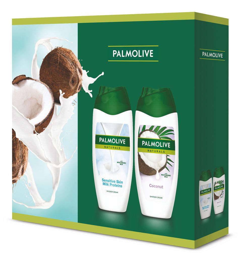 Darilni paket Naturals, Kokos & Milk, gel za prhanje, mlečni proteini 250 ml + kokos 250 ml