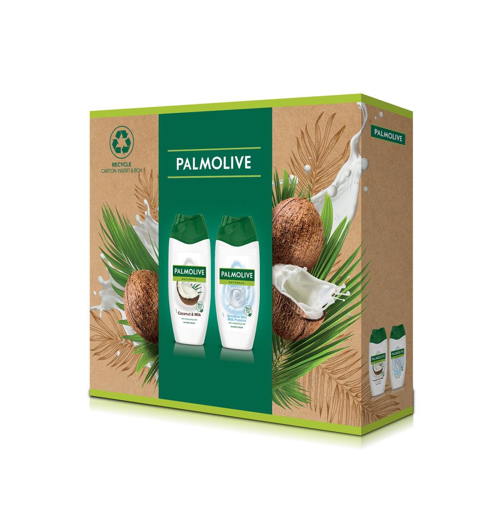 Darilni set Palmolive, Naturals Coconut & Milk, tuš gel Coconut + tuš gel Milk