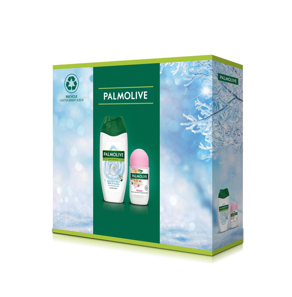 Darilni set Palmolive, Naturals Milk Proteins & Roll on, tuš gel + Roll on