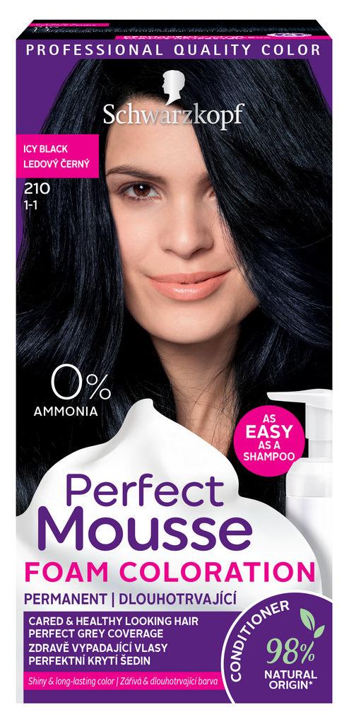 Barva za lase Schwarzkopf Perfect mousse 210 ledeno črna