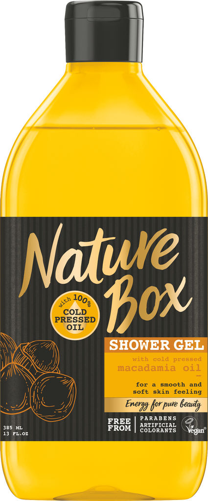 Gel za prhanje Nature Box, macadamia, 385ml