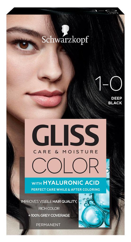 Barva za lase Gliss Color, 1 – 0 deep black