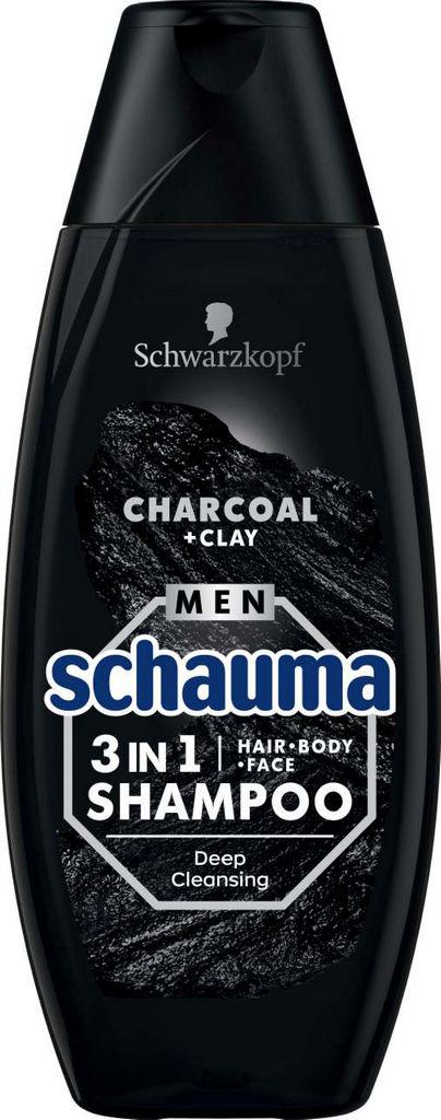 Šampon za lase Schauma, moški, 3 v 1 Charco & Clay, 400ml