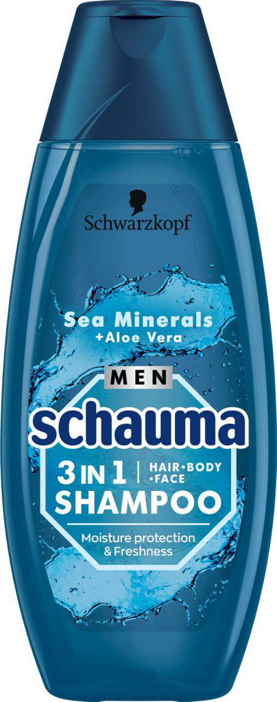 Šampon za lase Schauma, moški, 3 v 1 Sea mineral & Aloe vera, 400ml
