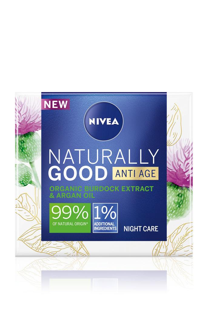 Krema za obraz Nivea Naturally good, nočna proti gubam, 50ml