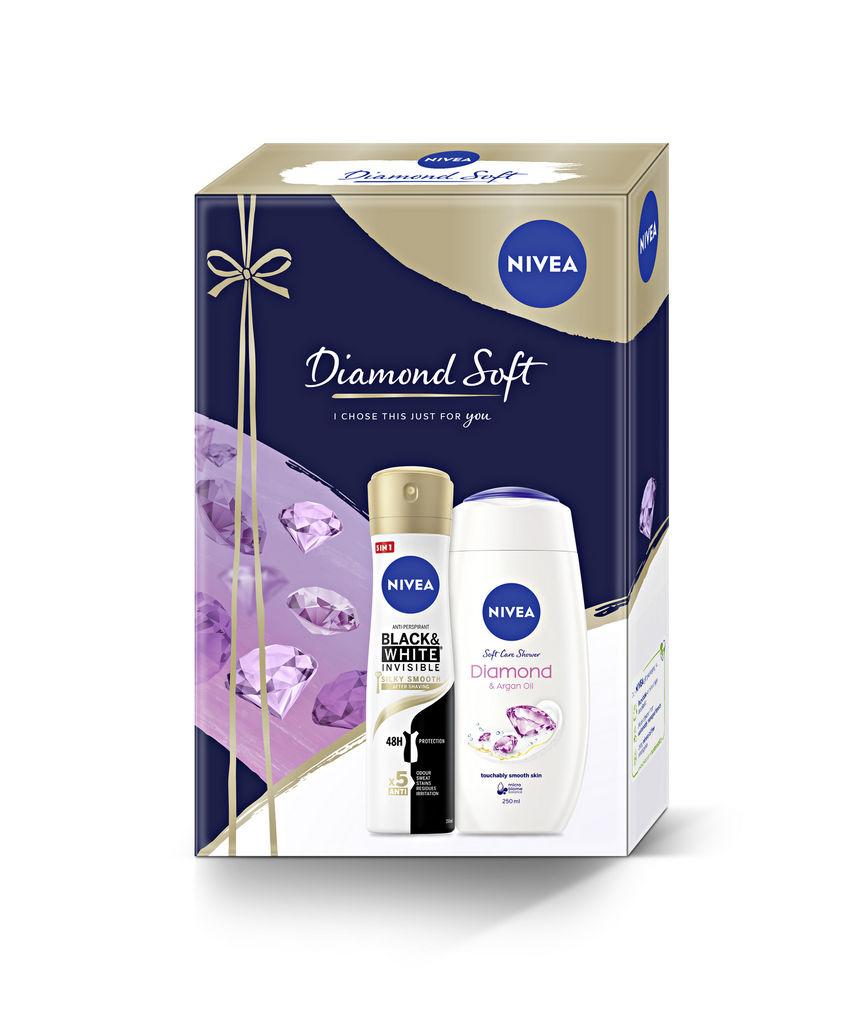 Darilni set Nivea, Diamond Soft, ženski, deo sprej 150 ml + tuš gel 250 ml
