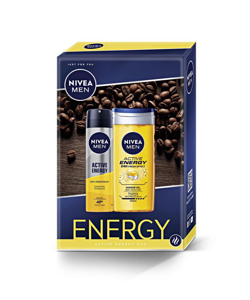 Darilni set Nivea Men, Energy, deo sprej 150 ml + tuš gel 250 ml